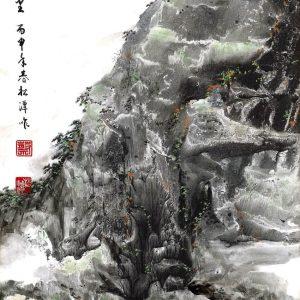 EIA02-彩墨-登高望遠、江河萬里-2016-蔡松潭老師